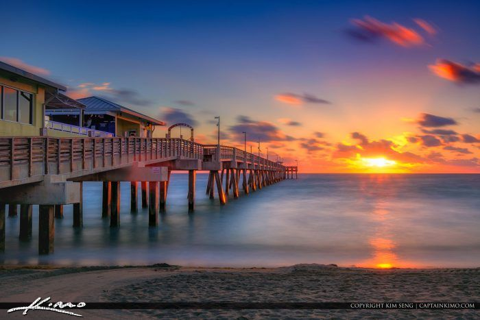Dania Beach Fishing Pier Sunrise Over Broward County Florida