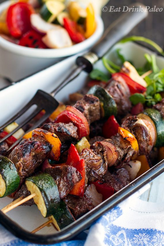 Kangaroo & vegetable skewers in red wine marinade. Any other red meat can be used | Eat Drink Paleo