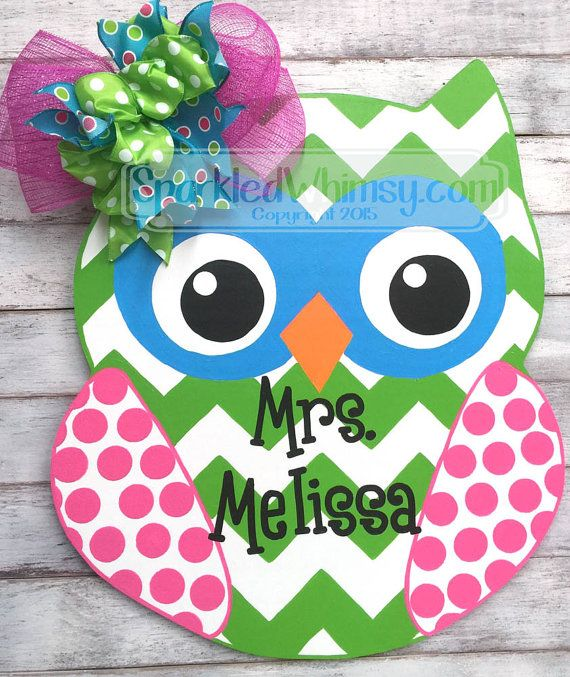 Hey, I found this really awesome Etsy listing at https://www.etsy.com/listing/231797950/personalized-chevron-polkadot-owl-door