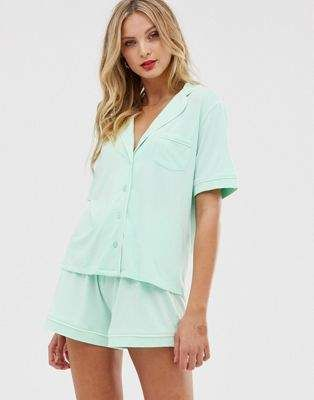 51f114da7efb7 DESIGN traditional shirt & short pyjama set with piping in 2019 ...