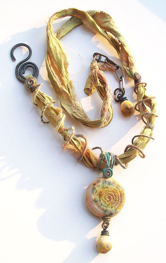 Sahara Stone- Handmade lampwork distressed stone bead fiber wire and recycled sari silk- mixed-media necklace