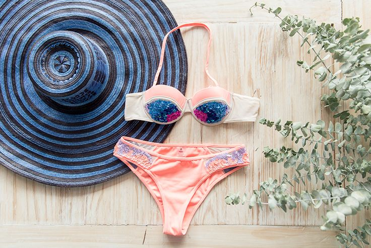 Orange bandeau bikini Swimwear hand made embroidery  Sequins  high end resort brand Fashion editorial  Made in PRison Summer