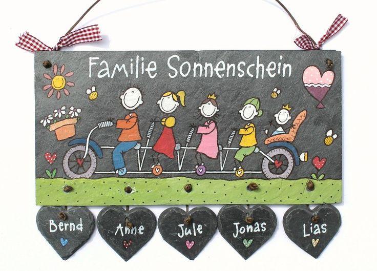 Schiefer Türschild Namensschild Familientandem von byAnnoDomini via dawanda.com