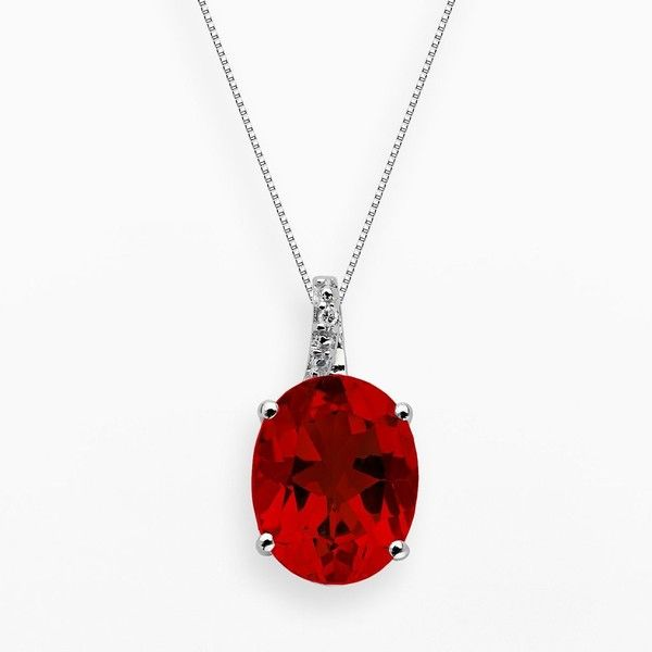Sterling Silver Lab-Created Ruby and Diamond Accent Oval Pendant (1 555 UAH) ❤ liked on Polyvore featuring jewelry, pendants, necklaces, red, round pendant, sterling silver ruby jewelry, chain pendants, oval pendant and pendant jewelry