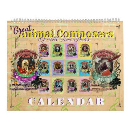Great Animal Classical Music Composers Calendar - home gifts cool custom diy cyo