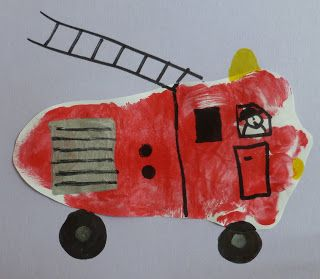 Footprint Fire Truck Craft (from Craftulate)