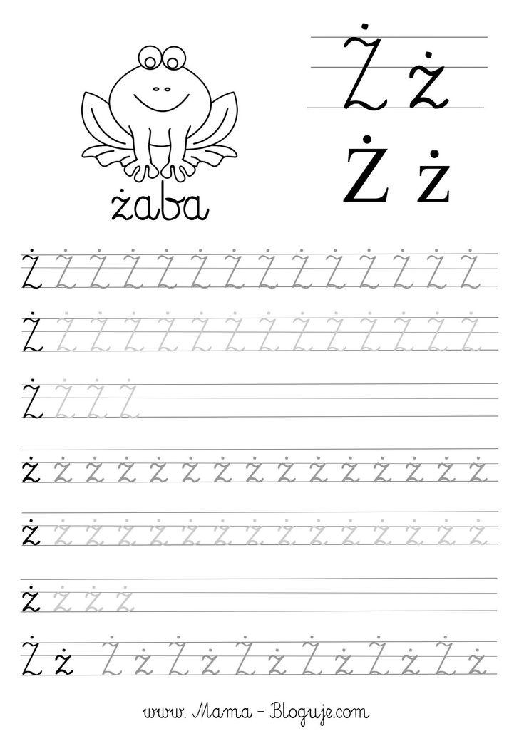 SZABLONY DO NAUKI PISANIA -  POLSKIE LITERKI - litera ż - Język polski - Polskie literki - szablony do nauki pisania dla dzieci