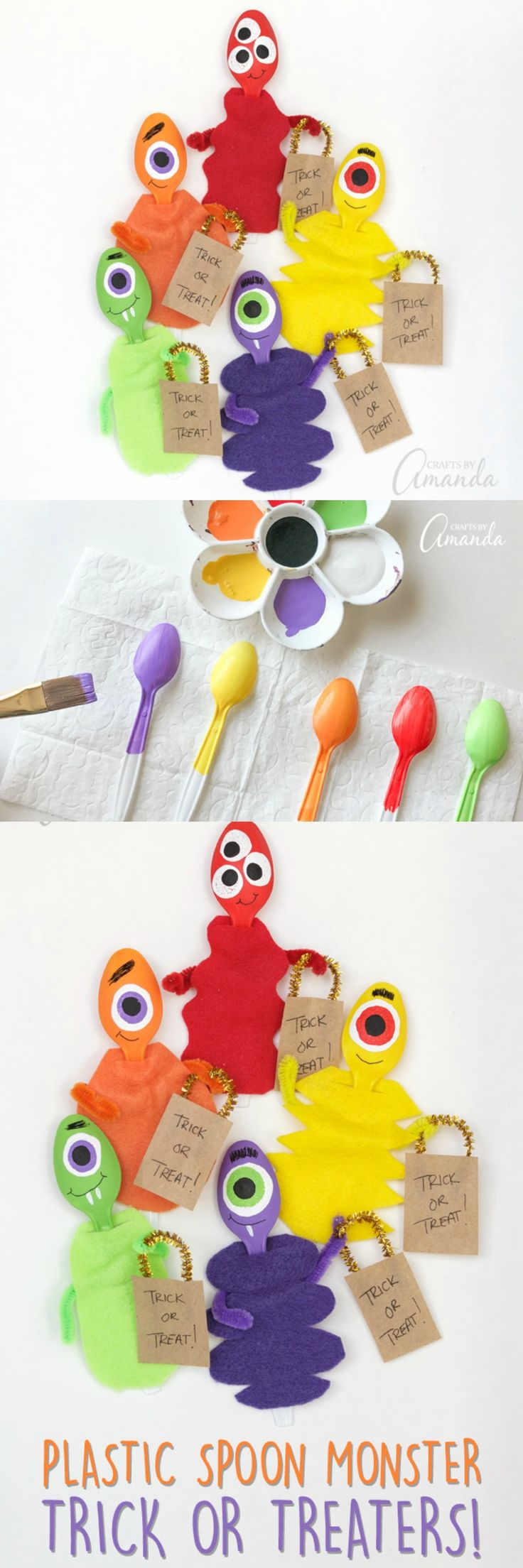 Make these adorable plastic spoon monsters with the kids for Halloween! Some monsters are scary, but these ones just want to go trick or treating!
