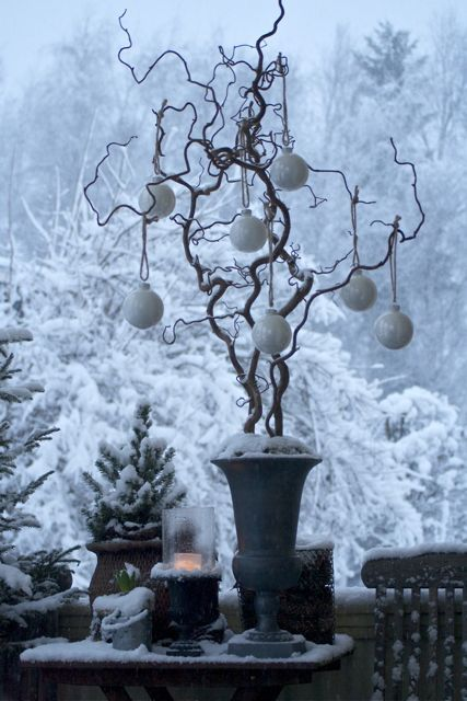 Decorate an old twisted twig with Christmas Baubles to make a feature in your home. The more twisted the branch the more character it has......