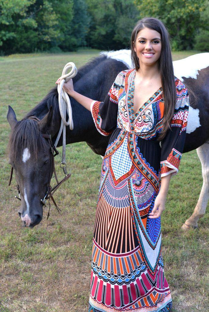 Elastic V Neck Tribal Print Maxi Dress