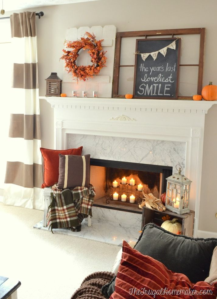 Fall mantel decorated with vintage and thrifted finds