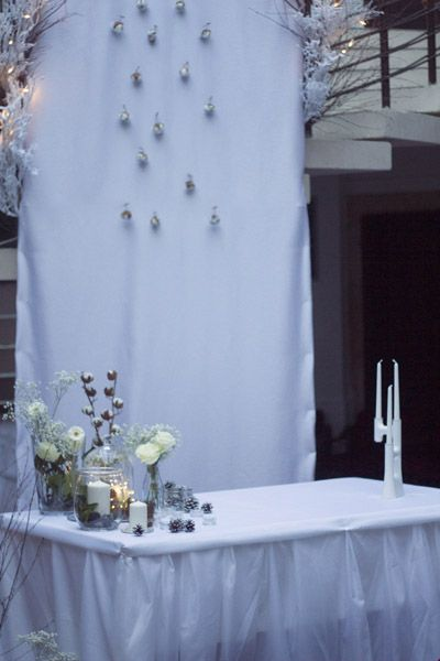 wedding, dekorxtar, winter, ceremony backdrop, cotton, white snow www.dekorxtar.weebly.com www.facebook.com/dekorxtar