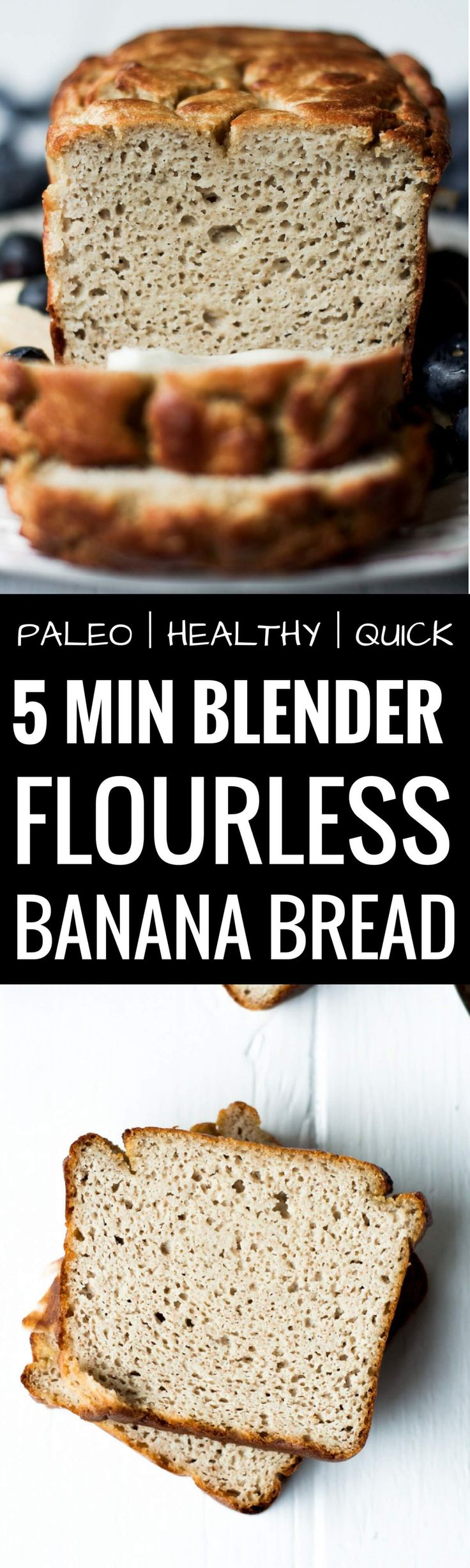 The most delicious paleo banana bread made in 5 minutes! Incredibly soft and fluffy banana bread that is healthy and gluten free. Best gluten free banana bread. Easy gluten free bread recipes. Best paleo banana bread recipe. Easy paleo bread recipes.
