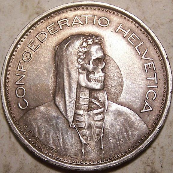 John Hughey Hobo Coin Swiss 5 Francs Skull Skulls And Skeletons In 2019 Pinterest Nickel Coins
