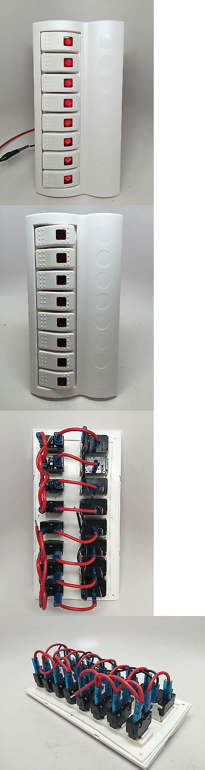 boat parts: Marine Boat White Switch Panel 8 Gang Red Led Indicator Rocker Circuit Breaker BUY IT NOW ONLY: $42.95