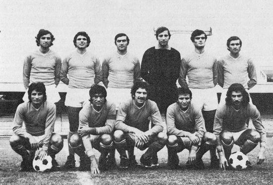 Una formazione del Napoli nell'anno della seconda Coppa Italia (1975-76). Da sinistra, in piedi: Orlandini, La Palma, Burgnich, Carmignani, Bruscolotti, Pogliana; accosciati: Massa, Juliano, Savoldi I, Esposito, Braglia https://goo.gl/ql5qWw