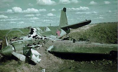 Burn-out wreckage of Soviet SB-2bis standard medium bomber in the Operation Barbarossa