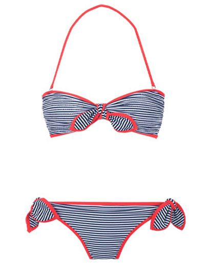Delias Stripe Neon Bandeau and Tie Side: 100 Beach-Ready Swimsuits for Summer: Style: teenvogue.com