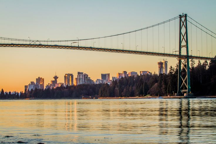 Vancouver // Sunrise over the Lions Gate Bridge and downtown Vancouver from Ambleside Park in West Vancouver // Image by Ray Urner // www.rayurner.com