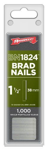 """Arrow Fastener BN1824 Genuine 1-1/2-Inch Brad Nails with Steel T Head, 1000-Pack by Arrow. $7.20. From the Manufacturer                The Arrow 1-1/2-inch brad nails with steel T head are made of 18-gauge steel.  Each box 1,000 nails.                                    Product Description                Arrow Fastener Company BN1824 1 1/2"""" 18 Gauge Brad Nails, 2,000 Count Arrow Fastener Company BN1824 1 1/2"""" 18 Gauge Brad Nails, 2,000 Count Features: Convenient use 18 ..."""