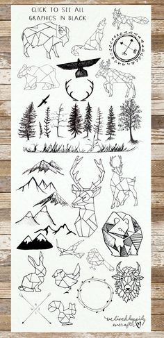 Love the geometric woodland animals! Check out these graphics for your next project. #art #illustration