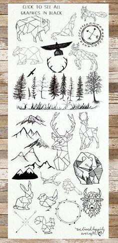 Diseños de animales,figuras geometricas,Arboles,Black and Grey