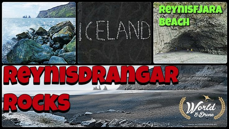 Reynisfjara beach,  Reynisdrangar rocks, Gardar column and city Vik in Iceland - Drone Phantom video
