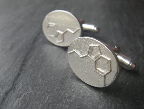 For the Guy Who Likes to Spread the Holiday Cheer... Serotonin Cufflinks - The Happiness Molecule - C10H12N2O by #SlashpileDesigns #giftguide #cufflinks