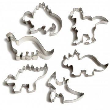 Leuk om samen met mijn neefjes koekjes te bakken! Uitsteekvormen voor Dinosauruskoekjes, set van 6 stuks in doos, vertind metaal