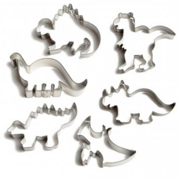 Ensemble de 6 emporte-pièces dinosaures pour biscuits  en métal étamé