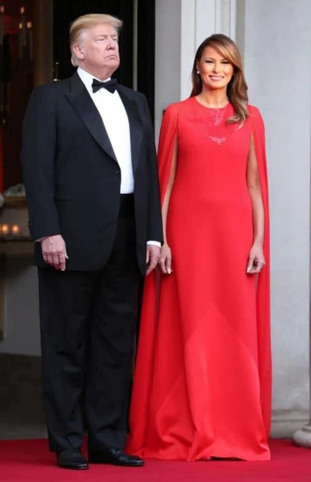 President Trump With First Lady Melania Trump Designer Gowns Fashion Givenchy Dress