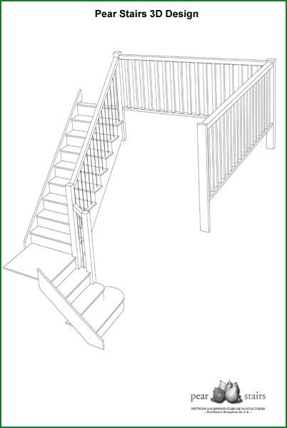 Berriew Provincial Softwood Staircase - 3D Design