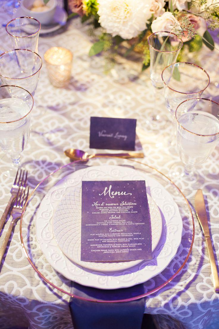 Whimsical Starry Nights Inspired Wedding, purple menu, pantone ultra violet, dark purple, violet
