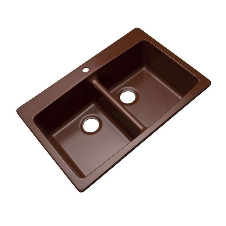 Mont Blanc Waterbrook Dual Mount Composite Granite 33x22x9 1-Hole Double Bowl Kitchen Sink in Cocoa-79119Q - The Home Depot