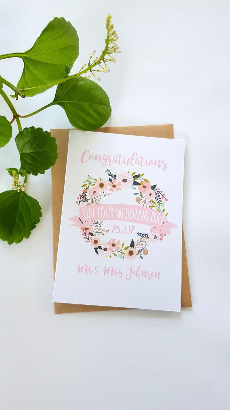 Custom Wedding Day Card / Personalised Wedding Card / Floral Wedding Card / Congratulations on your Wedding Day Card
