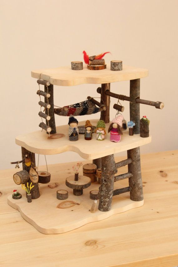 This mini Treehouse Play Set is made with clean dry branches and smoothly sanded…