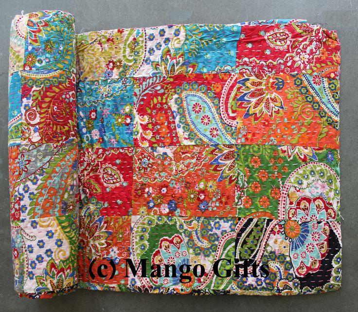 Handmade Patchwork Kantha Quilt Vintage Throw Cotton Bedspread Queen Multi-color | eBay