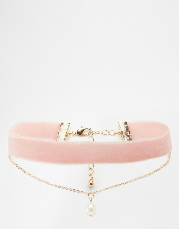 ASOS Velvet and Pearl Multirow Choker Necklace