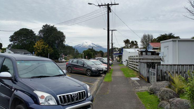 Mount Egmont from Okato on a bleak day.
