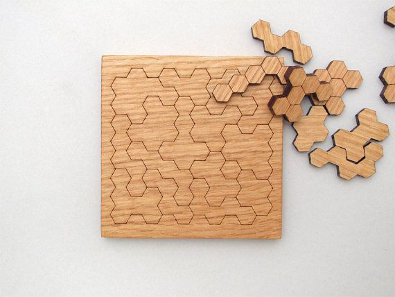 $22.95 Wooden Honeycomb Puzzle . Geometric Shapes Puzzle - Red Oak - Hexagon Cluster Pieces - Tagt Team . Timber Green Woods