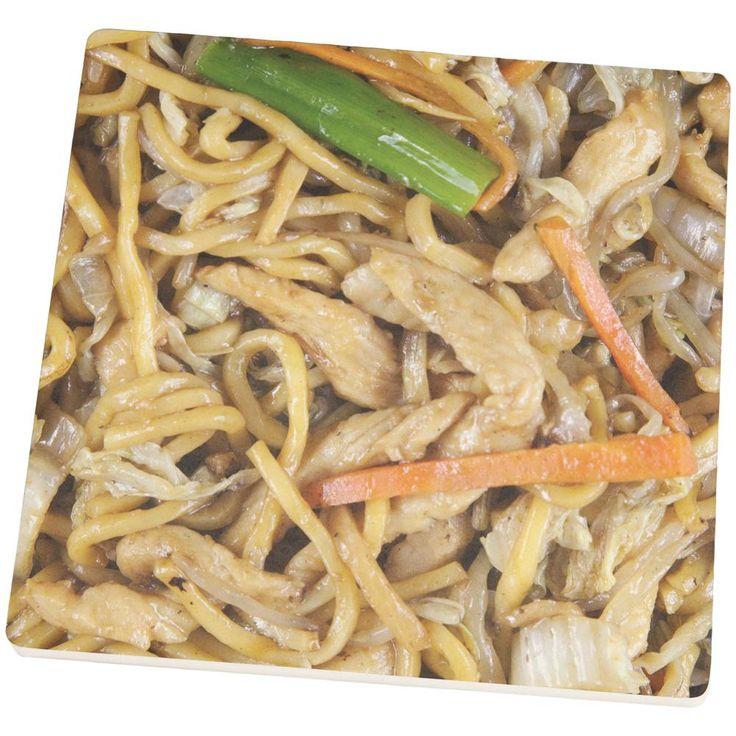 Chicken Lo Mein Set of 4 Square Sandstone Coasters
