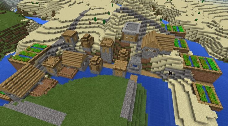 Four Village 0.10x MCPE Infinite Seed. Spawn in this village - 3 more visible from it's edge (oh, and there's great blacksmith loot!)