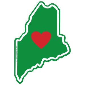 The Heart in Maine design is derived from the green of the Pine Tree State and classic red heart.