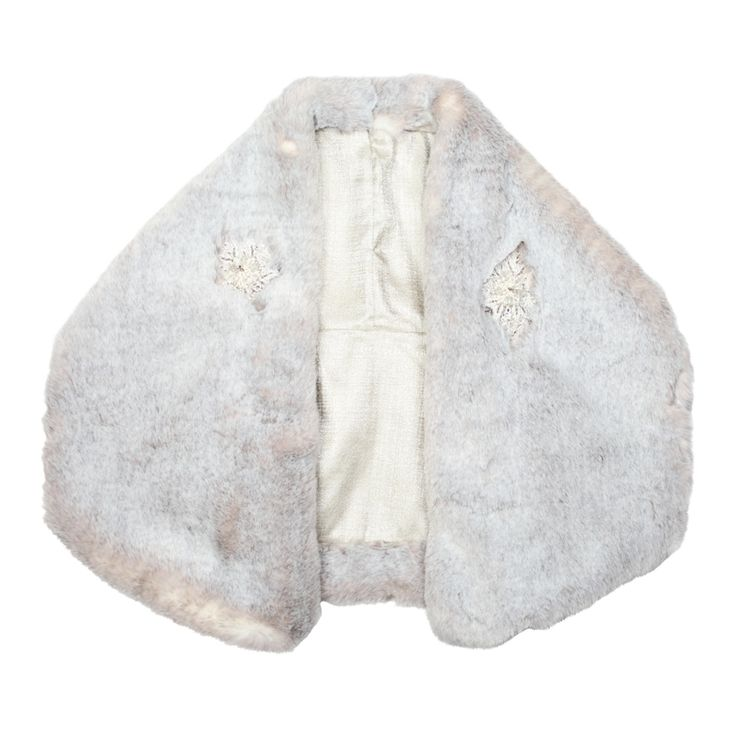 Rose Royal Faux fur Bridal Jacket. Pale Grey. Pearl and crystal embellishment. Made in Great Britain.