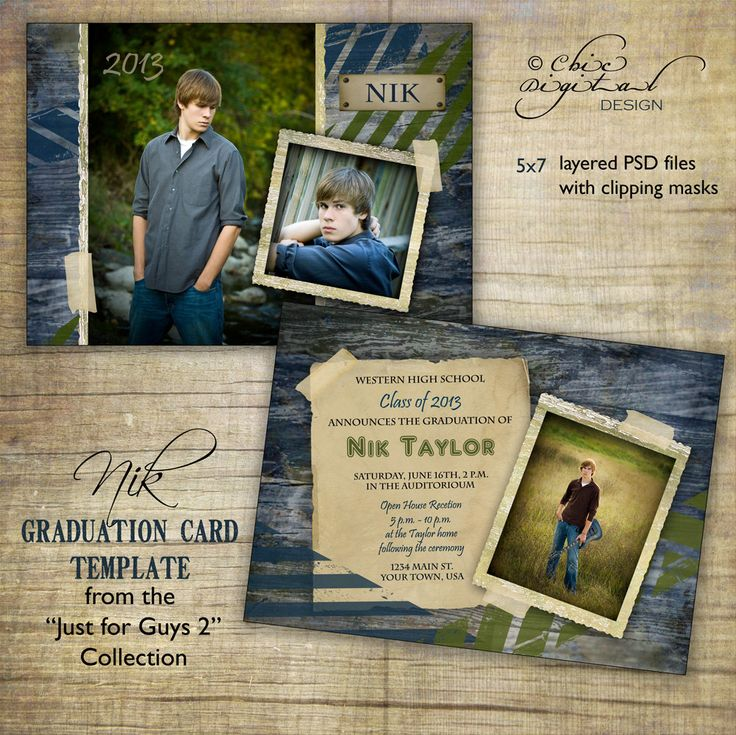 """Graduation Announcement Card Template for photographers / Just for Guys 2 - """"NIK"""" / Millers/Mpix & WHCC specs. $7.95, via Etsy."""