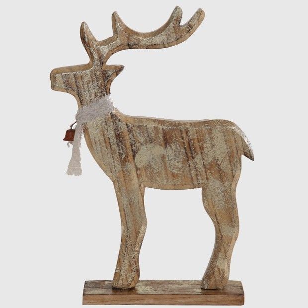 Wood Deer Statue With Ribbon and Bell