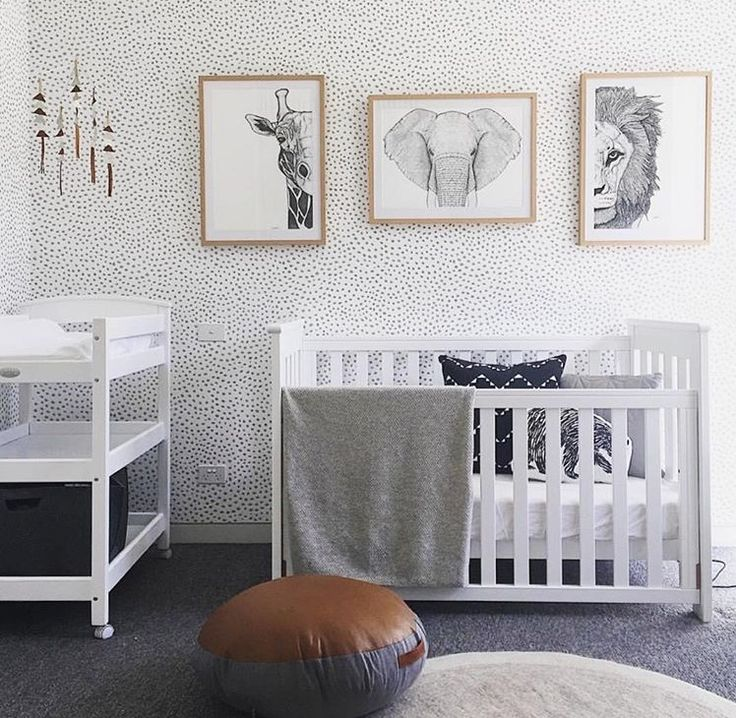 Take The Wallpaper And Pictures Off The Wall And Remove The Unnecessary  Pouf, And This Nursery Is Perfect! Incredibly Simple And Tasteful, ...