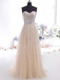 A-line/Princess Sweetheart Floor-length Chiffon Sleeveless Prom Gown With Beading