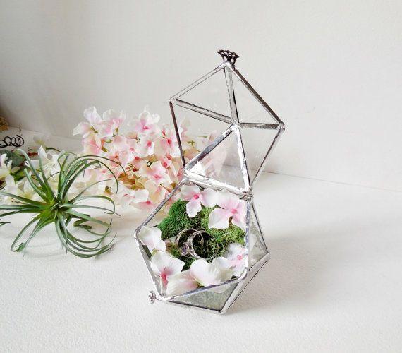 Terrario de vidrio caja del anillo de boda portador anillo