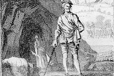 Sawney Bean outside his cave